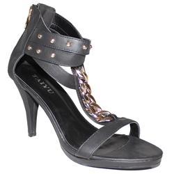 Taiyu Black Leather Gold Stud Design 3 Inch Ladies Heel Sandal