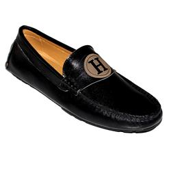 Hermes Black Leather Men's Loafer