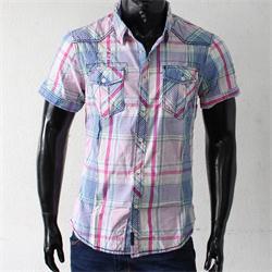 JPXSR Red/Blue Check Cotton Shortsleeves Men's Shirt