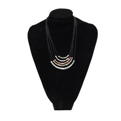 Ippo Black Rope Jewelry Set Wt Metal Pendant/Earrings
