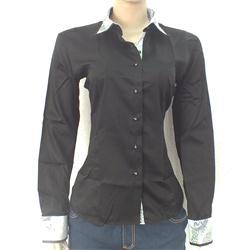Levi Gardin Black Ladies L/S  Shirt wt Green Floral Design