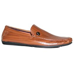 YMD Brown Leather Threaded Men's Casual Shoe