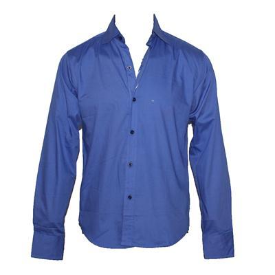Jack-Jones Blue Plain Cotton Men's L/S Men's Shirt