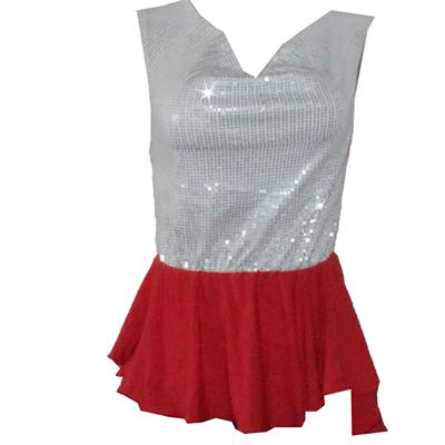 Forever 21 White/Red Wt Sequence Design  Ladies Top