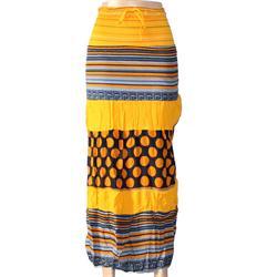 Caribbean Yellow/Brown Cotton Ladies Skirt