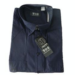 WOB Blue Men's Long Sleeve Shirt