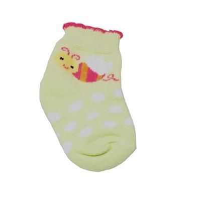 Lemon/White Dotted Pattern Baby Socks Wt Pink Trim - New Born