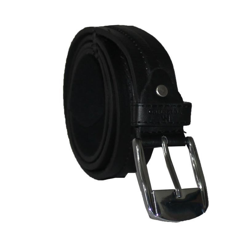 Roma Black Leather Silver Buckle Men's Belt