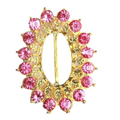 Juelz Gold Brooch wt Pink Studs Design