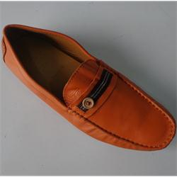 TE Orange Leather Men's Loafers
