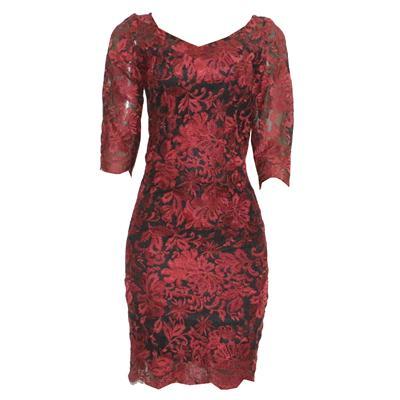 M&S Peruna Wine Floral 3/4 Sleeve Ladies Net Dress