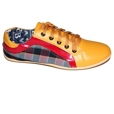 Sport Yellow/Red Leather/Colored Fabric Men's Sneakers