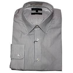 M & S Autograph Black Striped Cotton Men's L/Sleeve Slim Fit Shirt