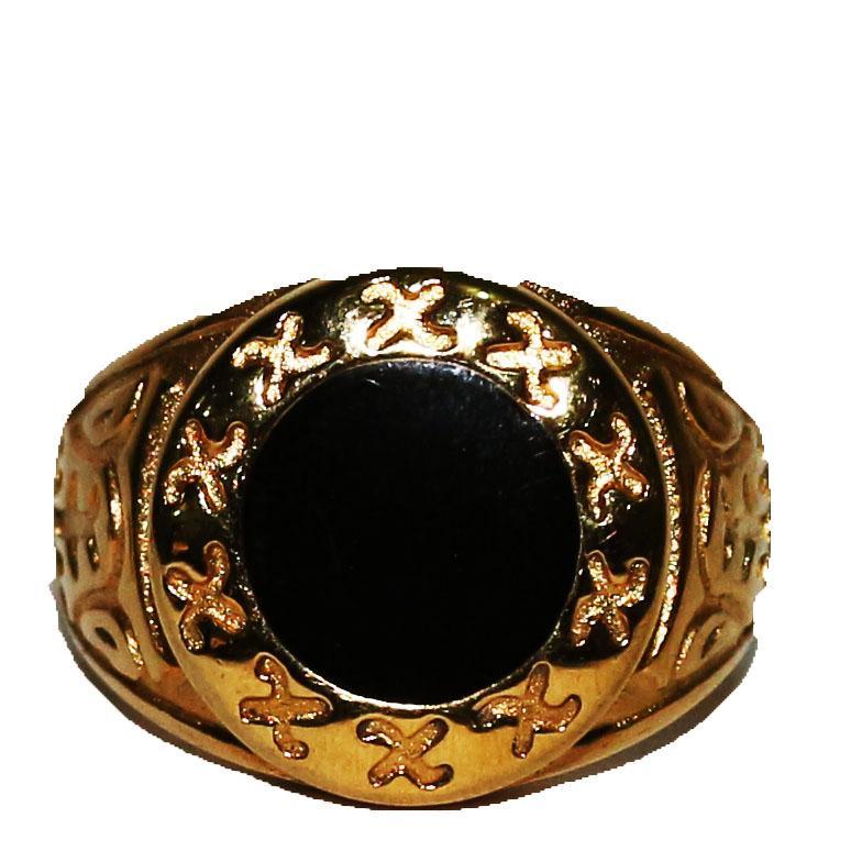 Gold Pattern Flat Black Stud Bishop Ring