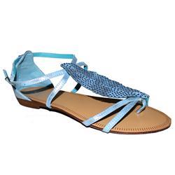 Siader Sky Blue Leather Stone Design Flat Sandal