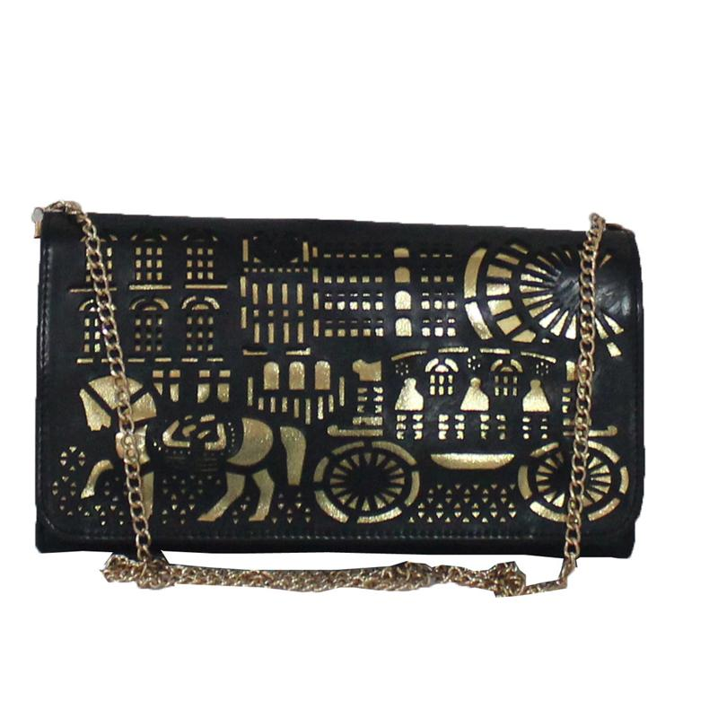 Rikes Places Black/Gold Leather Perforated Design Ladies Purse