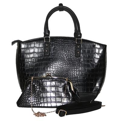 Susen Black Croc Leather Ladies Wide Handbag