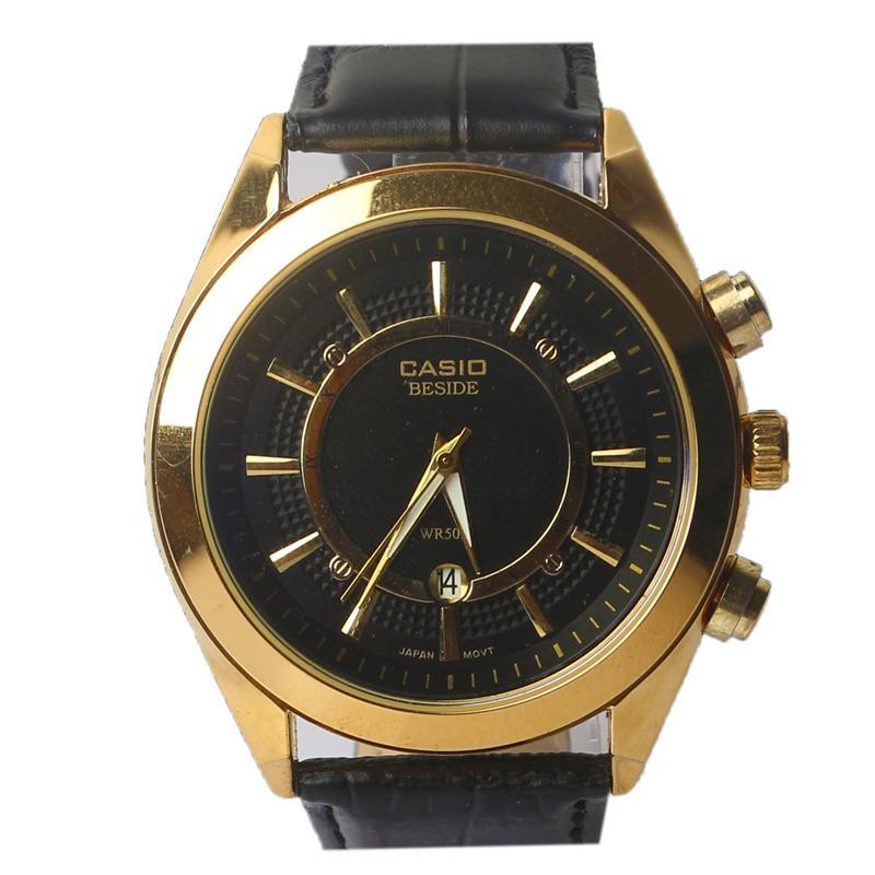 Casio Black Leather Men's Wristwatch