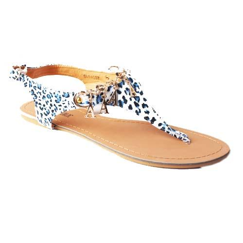 BR Blue Animal Skin Leather Ladies Flat Sandal