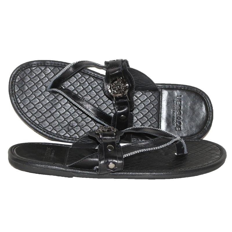 Versace Black Leather Metal Logo Men's Pam Slippers
