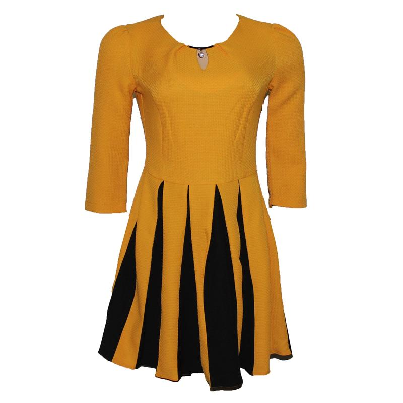 D'She Yellow/Black Armless  Skater Dress