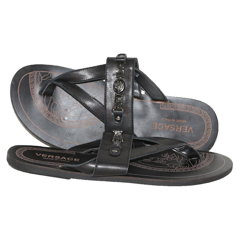 Versace Black Leather Men's Pam Slippers
