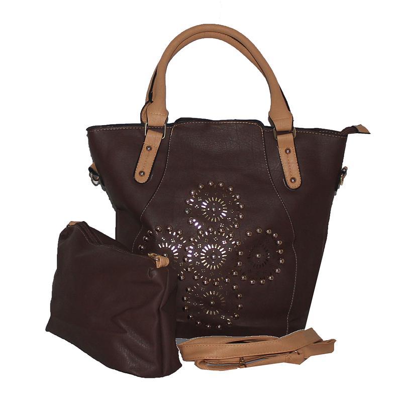 Rikes Places Coffee Leather Bronze Studded Ladies Handbag