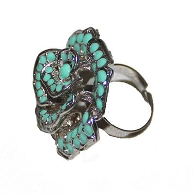 Fashion Silver  Rose Ring wt Turquoise Dotted Design