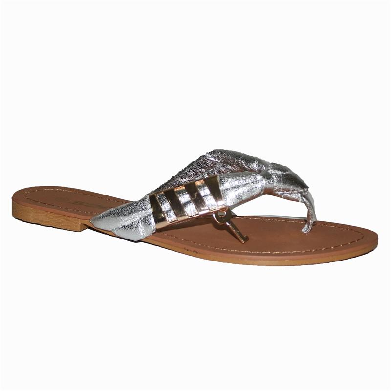 Soda Silver Fabric Ladies Flat Slippers