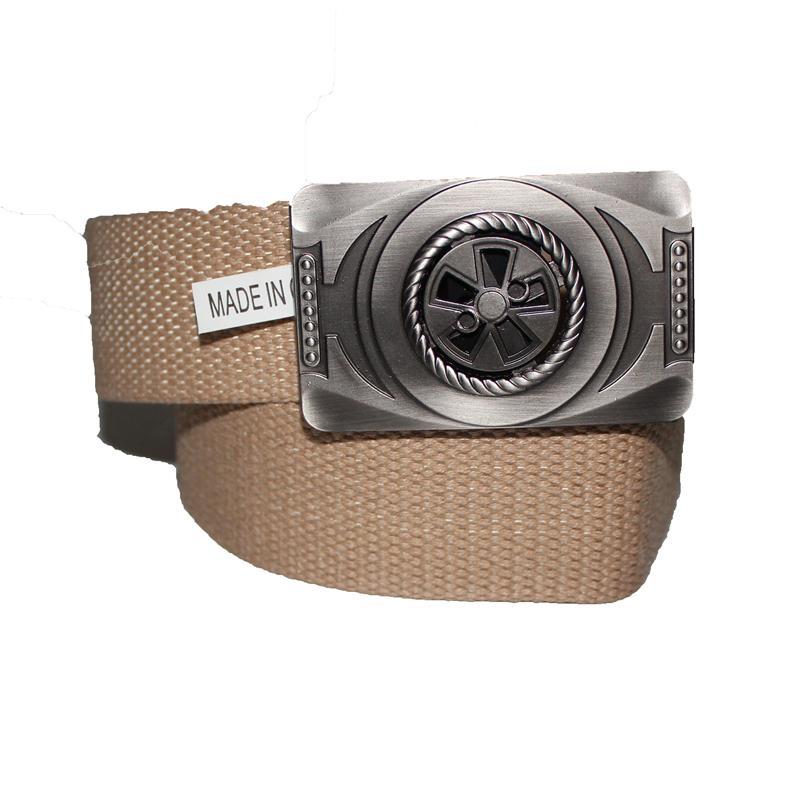 Cream Denim Fabric Star Buckle Design  Men's Belt