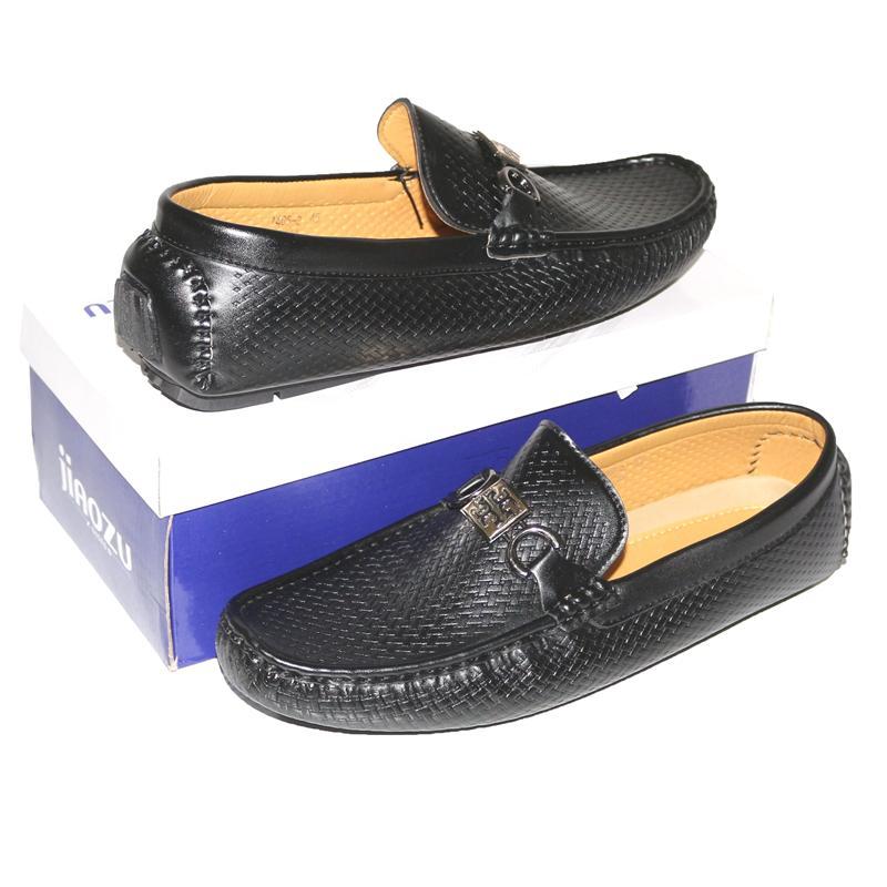JZ Black Leather Steel Logo Men's Loafers