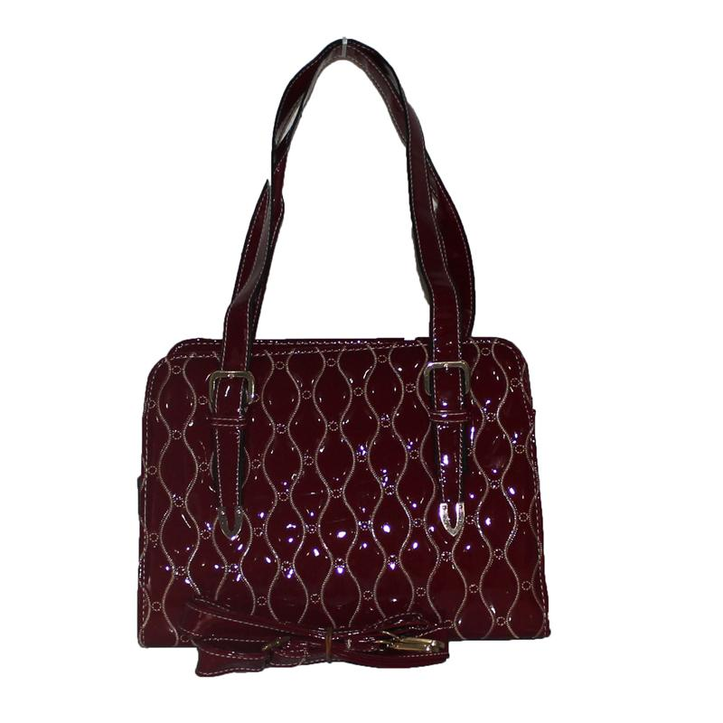 Rikes Places Wine Patent Embossed Leather Ladies Tote Bag