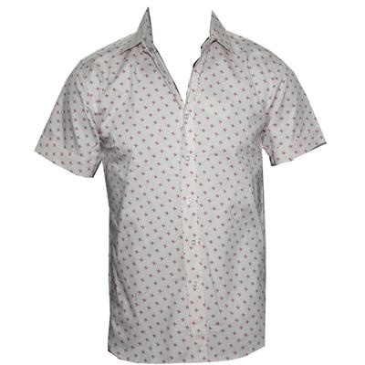 Marks Beige/Red Print Cotton Men's S/Sleeves Shirt
