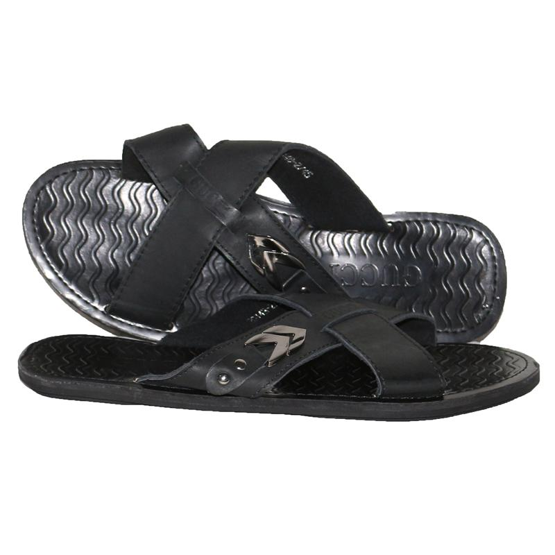 Gucci Black Leather Cross Men's Pam Slippers