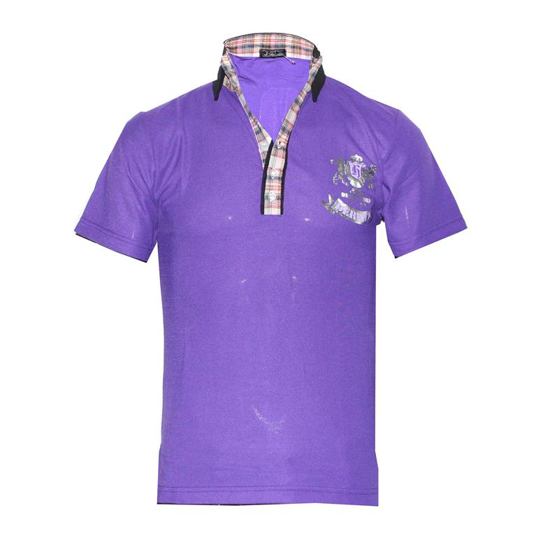 J.Sun Denim Purple/Black Check Neck Men's Polo