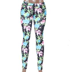 YWW Black/Green/Blue Floral Pattern Ladies Jeggings