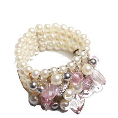 Juelz Cream Bead Bracelet Wt Pink Charms