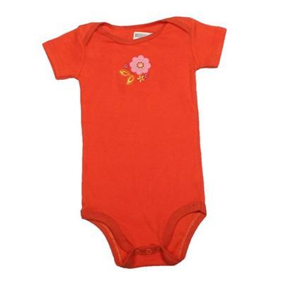 Orange Baby Romper Wt Flower Design Infant