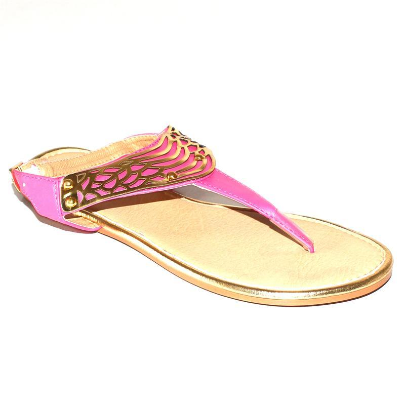 FUB Pink Leather Golden Plate Design Ladies Flat Sandals