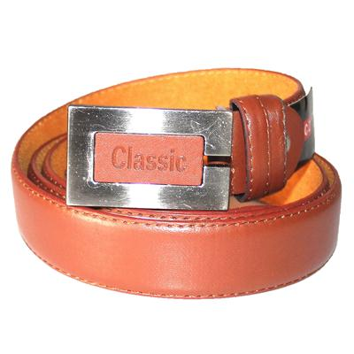 Classic Brown Leather Silver/Brown Buckle Men's Belt