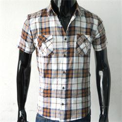 Cisse Negro Navy Blue/Brown Short Sleeve Men's Shirt