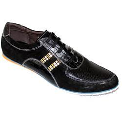 Giorgio Armani Black Leather Men''s Casual Shoe
