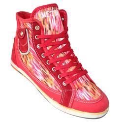 Metro Red Fabric Ladies Ankle Sneaker