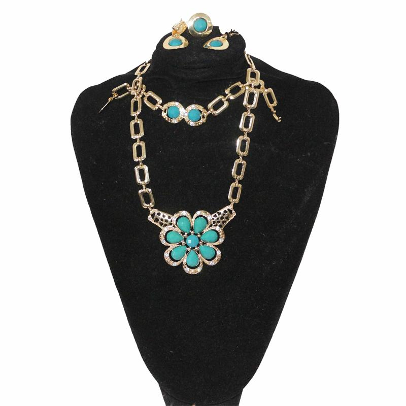 Fashion Turquoise-Blue/Gold Jewelry Set