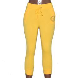 Hux Yellow Cotton Elastic Ladies 3 Quarter Joggers