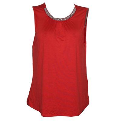 Estam Orange Armless Cotton Ladies Top Wt Bead Design