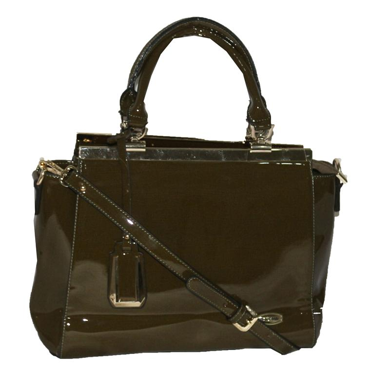 Yuejin Green Patent Leather Ladies Fashion Handbag wt Gold Trim