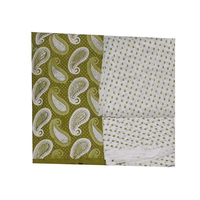 Shifa Green Fabric Pattern Design Indian Saree