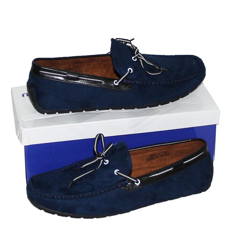 JZ Deep Blue Suede/Leather Black Trim Men's Loafers