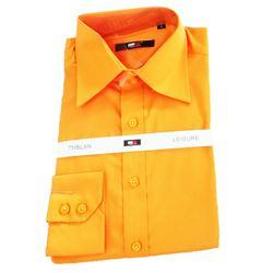 TMBLAN Orange Men's Long Sleeve Formal Shirt